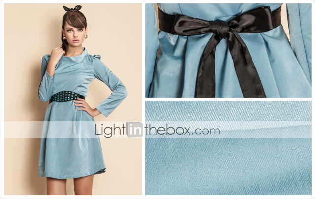 TS VINTAGE Beads Belted Long Sleeve Dress