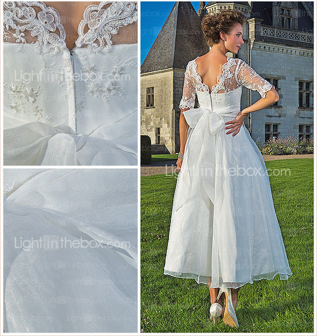 A-line V-neck Ankle-length Organza Lace Wedding Dress