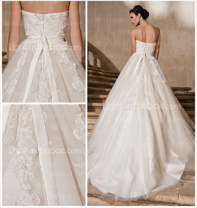 Ball Gown Strapless Cathedral Train Lace And Tulle Wedding Dress