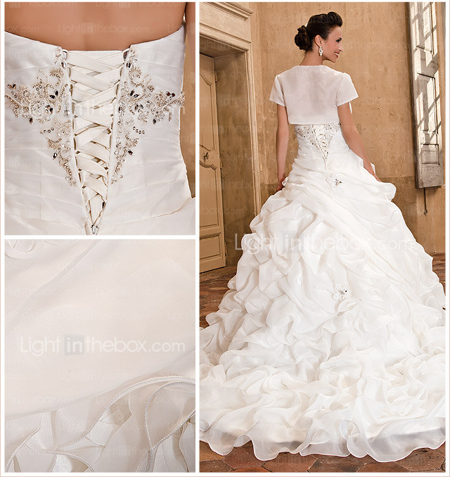 Ball Gown Sweetheart Strapless Chapel Train Organza Crystal Detailing Wedding Dress With A Wrap