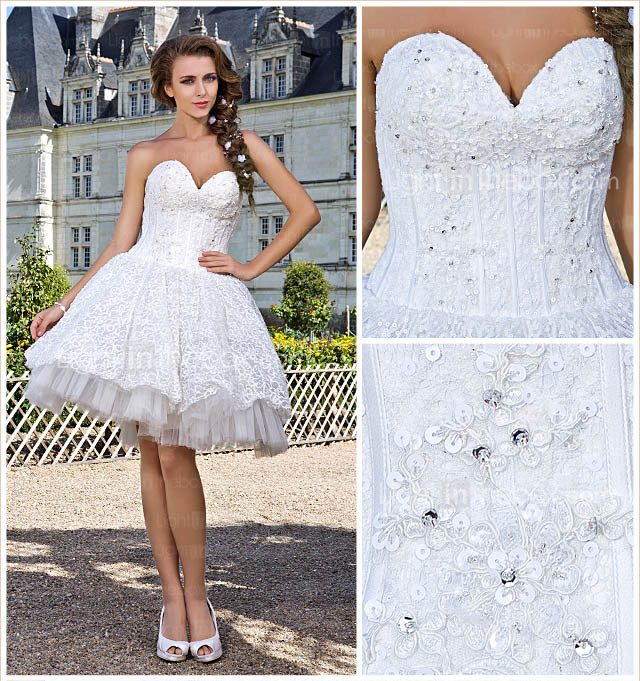 Ball Gown Sweetheart Strapless Knee-length Lace Wedding Dress