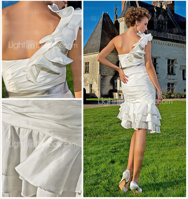 Sheath/ Column One Shoulder Knee-length Asymmetrical Taffeta Wedding Dress