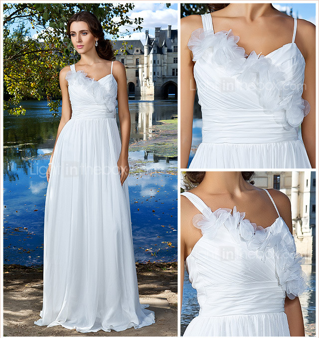 Sheath/Column Straps Floor-length Chiffon Wedding Dress