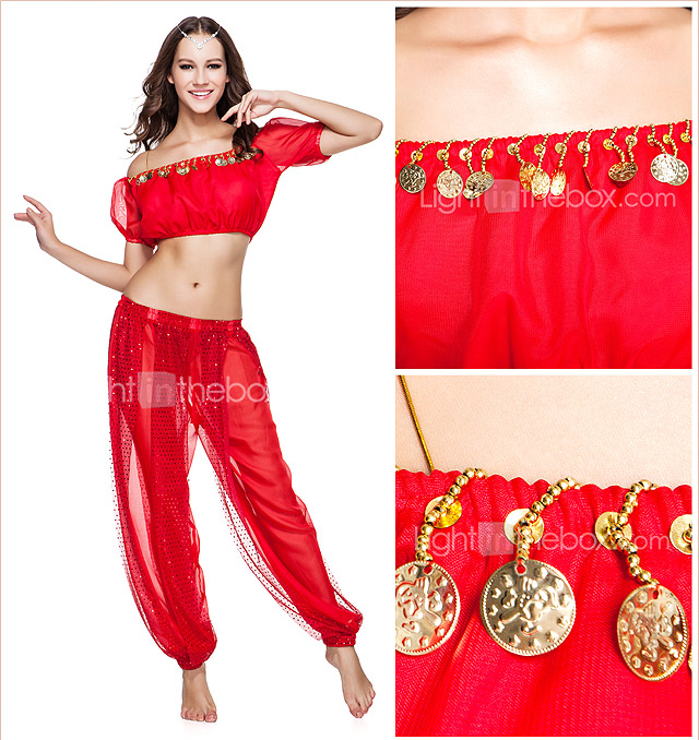 Dancewear Chiffon With Beading Belly Top And Pant for Ladies More Colors