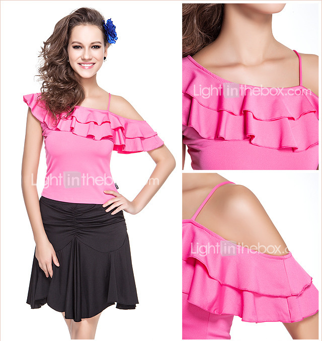 dancewear polyester avec des volants celui du haut des paules latin pour dames
