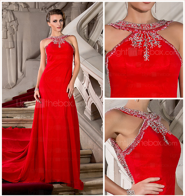 A-line Jewel Court Train Chiffon Evening Dress