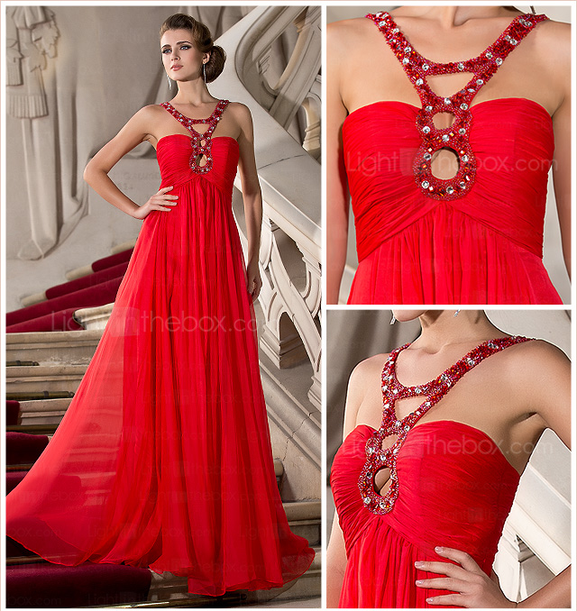 A-line Straps Floor-length Chiffon Evening Dress