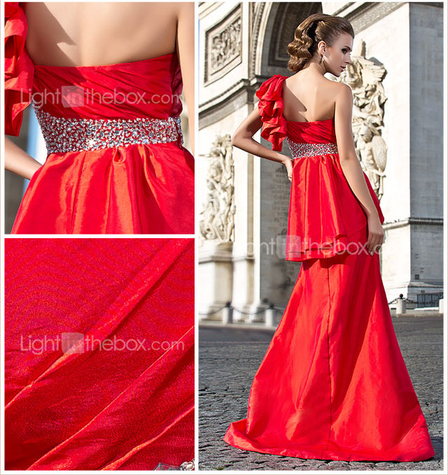 Trumpet/Mermaid One Shoulder Sweep/Brush Train Taffeta Evening Dress