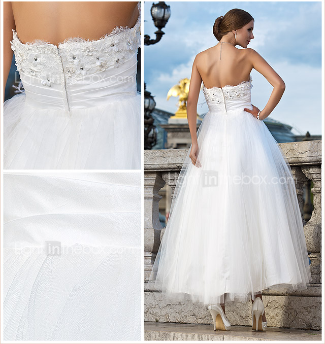 Ball Gown Strapless Ankle-length Tulle Wedding Dress