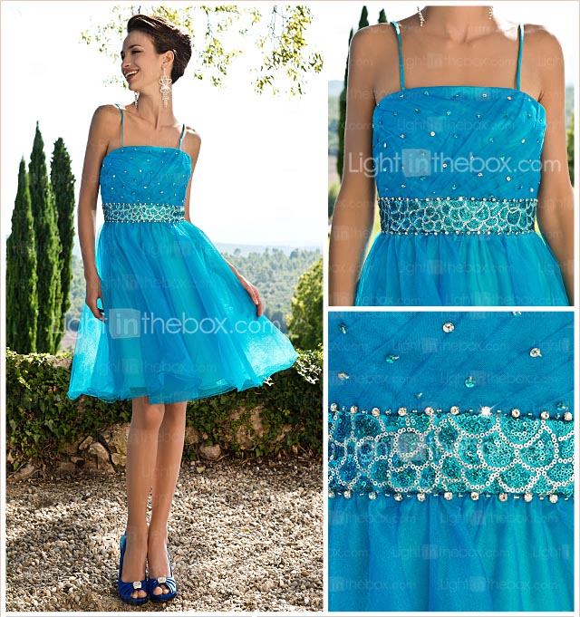 A-line Knee-length Organza Dress With Beading