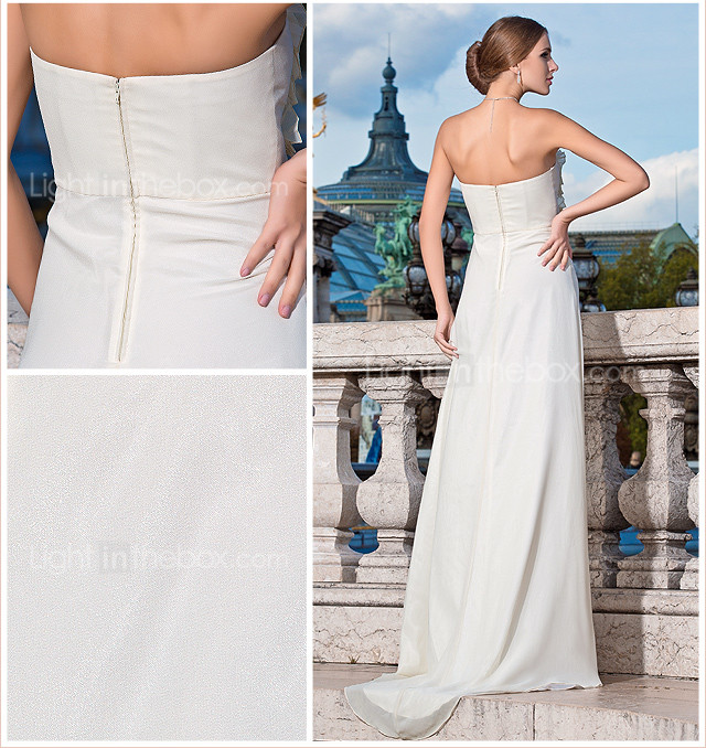 Sheath/Column Strapless Floor-length Chiffon Evening Dress With Flower(s) And Draping