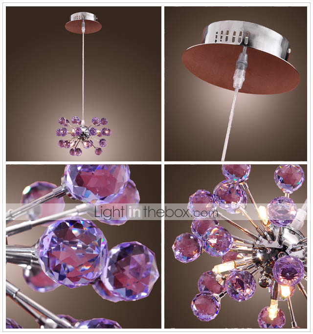 K9 Crystal Chandelier with 6 Lights in Purple