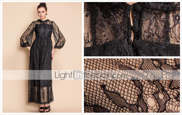 TS VINTAGE Puff Sleeve Lace Maxi Dress