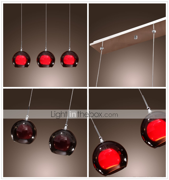 Comtemporary glaspendel Lights med 3 Lights dobbelt formål Shades