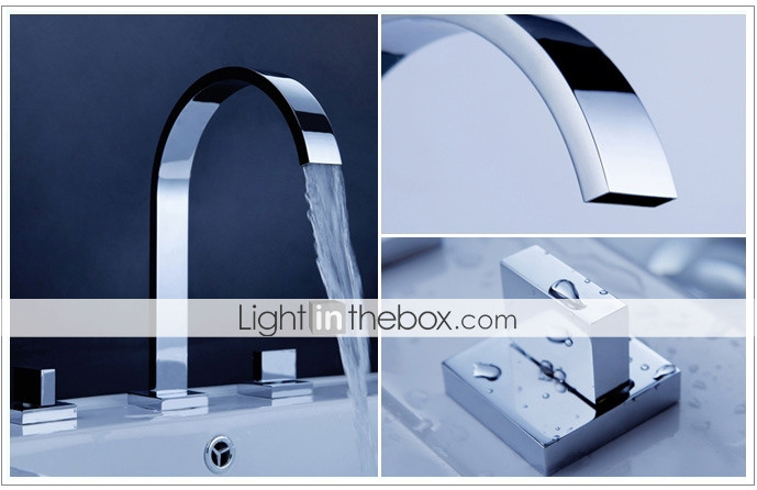Widespread Contemporary Chrome Bathroom Sink Faucet