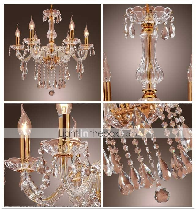 VINCENNES - Lustre Cristal - 6 slots  ampoule