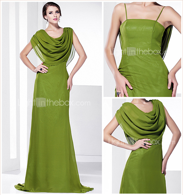 A-line Cowl Sweep/Brush Train Chiffon Evening Dress inspired by Tia Carrere at Grammy
