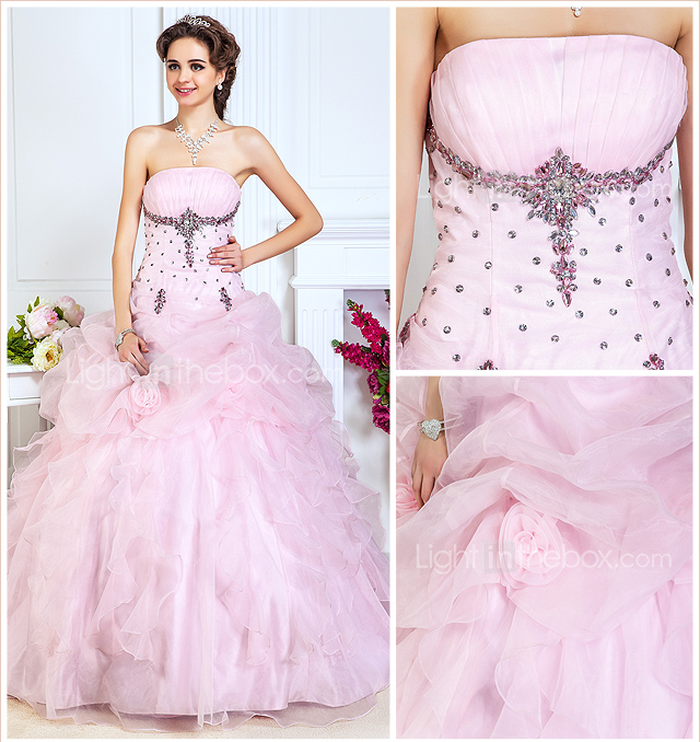 Ball Gown Strapless Floor-length Organza Evening Dress