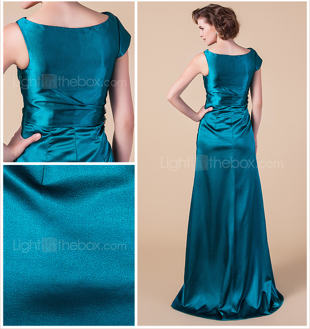 Sheath/Column Bateau Floor-length Stretch Satin Mother of the Bride Dress