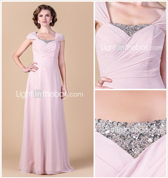 Sheath/Column Square Floor-length Chiffon Mother of the Bride Dress