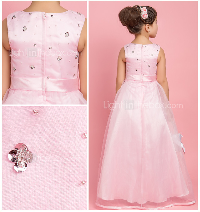 A-line Jewel Floor-length Organza Flower Girl Dress