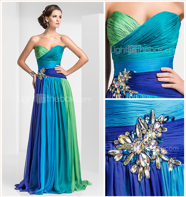 Sheath/Colum Sweetheart Floor-length Chiffon Evening Dress