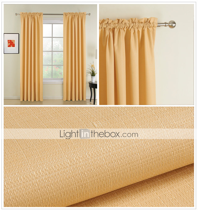 (Two Panels) Classic Yellow Solid Thermal Curtains