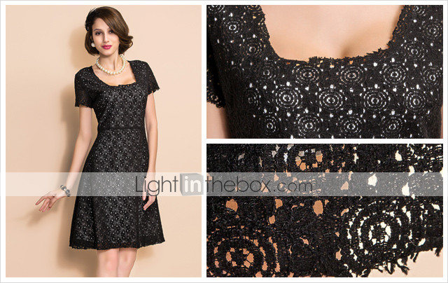 TS Square Neck Swing Lace Black Dress