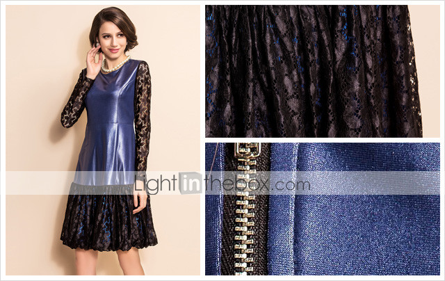 TS Lace Splicing Imitation Leather Slim Waist Ruffle Dress