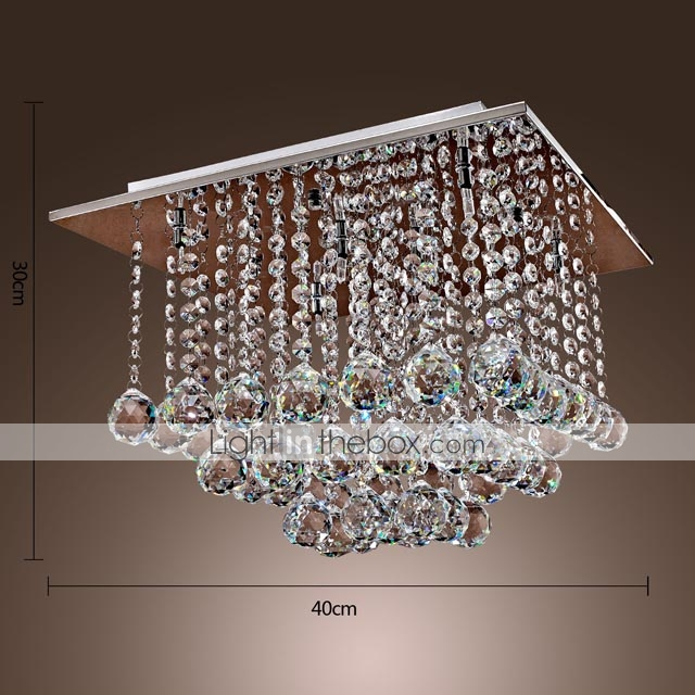 Comtemporary Crystal Flush Mount with 6 Lights in Beaded Design