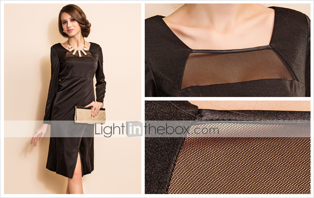 TS Long Sleeve Mesh Front Dress