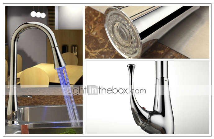 Contemporary Pull Down Kitchen Faucet with Color Changing LED Light