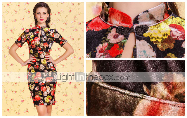 TS VINTAGE Velvet Floral Print Bodycon Chineses Dress