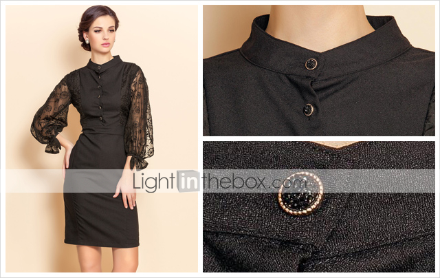 TS Lace Puff Sleeve Sheath Dress