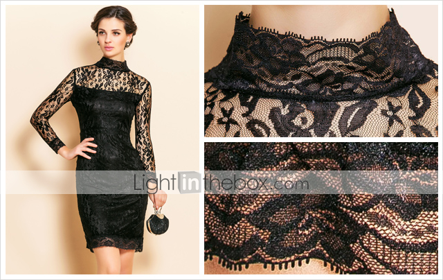 TS High Neck Lace Slim Dress
