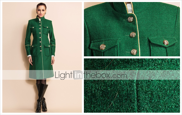 TS Military Style Metal Button Tweed Coat