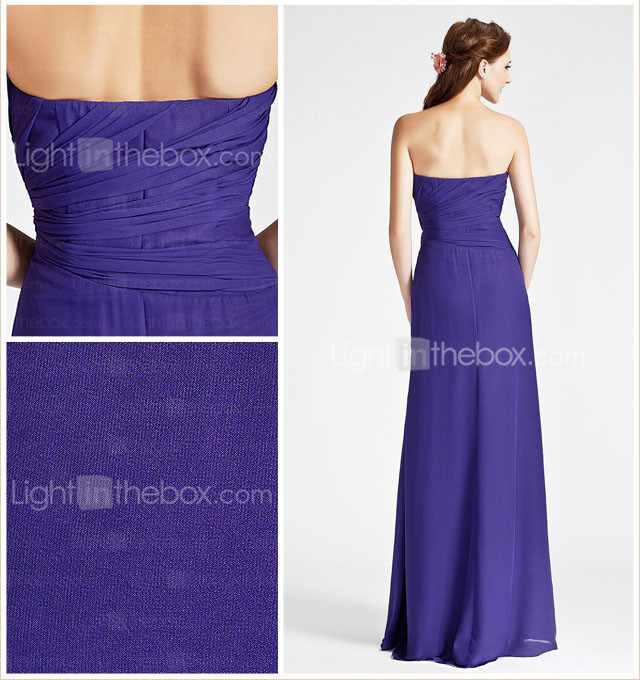 Sheath/Column Strapless Floor-length Chiffon Over Elastic Woven Satin Bridesmaid Dress