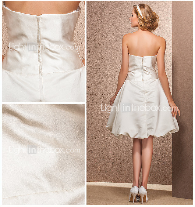 Ball Gown Strapless Knee-length Satin Wedding Dress