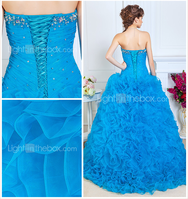 Ball Gown Sweetheart Floor-length Organza Evening Dress With Beading And Cascading Ruffles