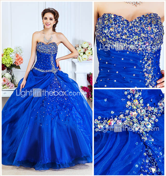 Ball Gown Sweetheart Floor-length Organza Evening Dress With Beading And Side Draping