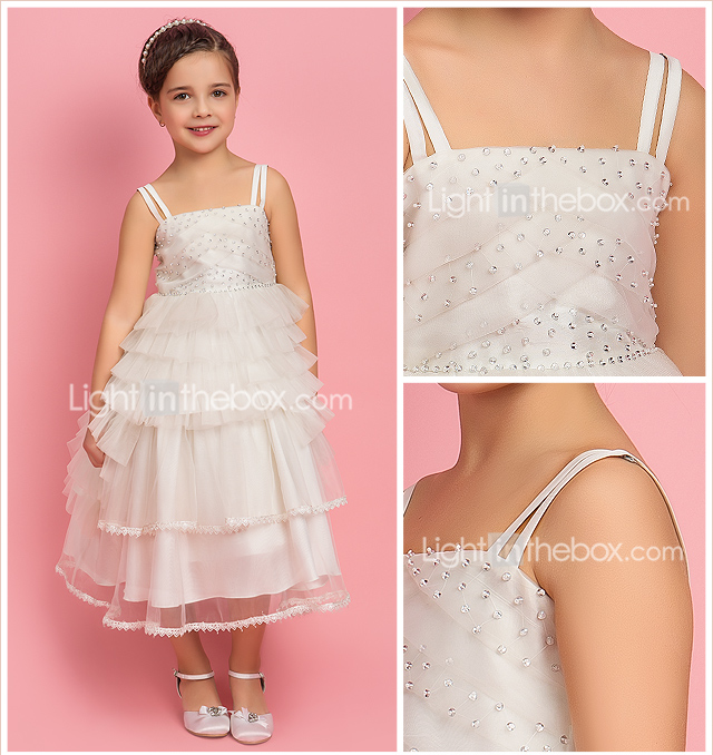 A-line Princess Square Straps Tea-length Organza Tulle Flower Girl Dress
