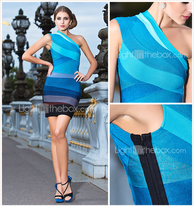 Sheath/Column One Shoulder Short/Mini Bandage Dress