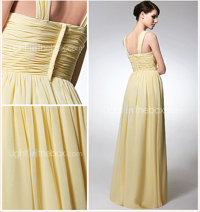 Sheath/Column Scoop Floor-length Chiffon Bridesmaid Dress