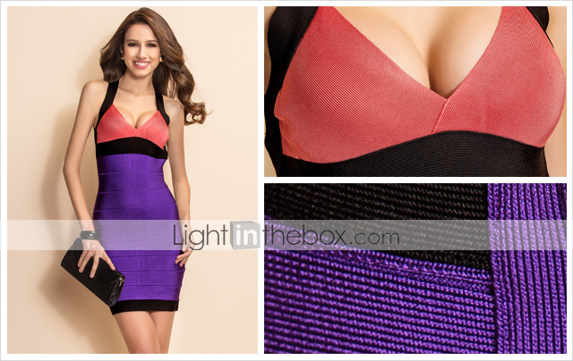 TS Contrast Color Backless Strap Bodycon Bandage Dress