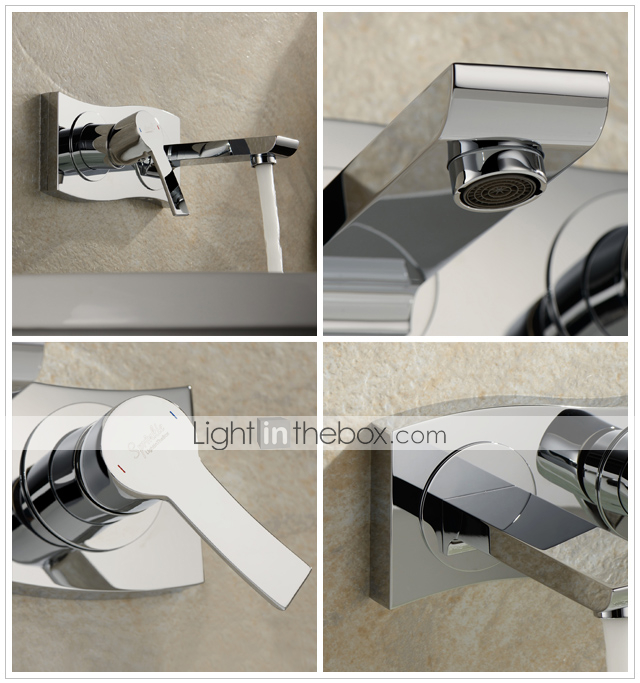 Sprinkle® by Lightinthebox - Chrome Finish Single Handle Widespread Wall Mount Solid Brass Bathroom Sink Faucet