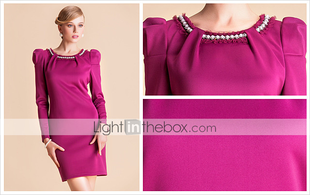 TS Handmade Beads Collar Puff Sleeve Slim Sheath Jersey Dress