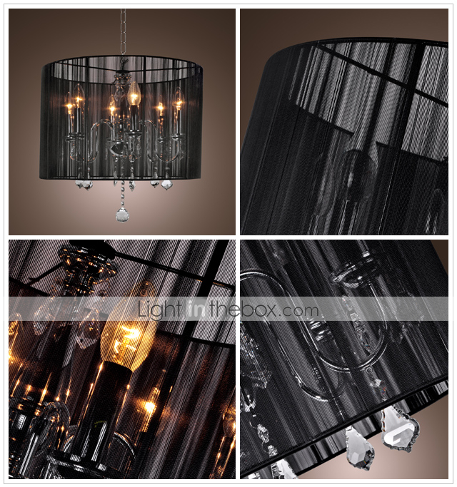 Stylish Crystal Flush Mount with 6 Lights in Black Fabric Shade