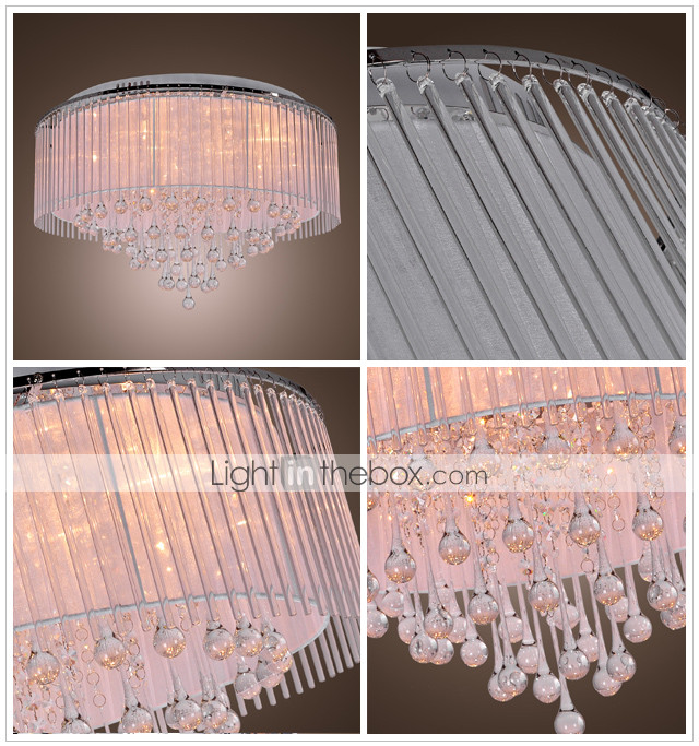 KRAICHTAL - Lustre Moderno Cristal de Tela com 8 Lmpadas