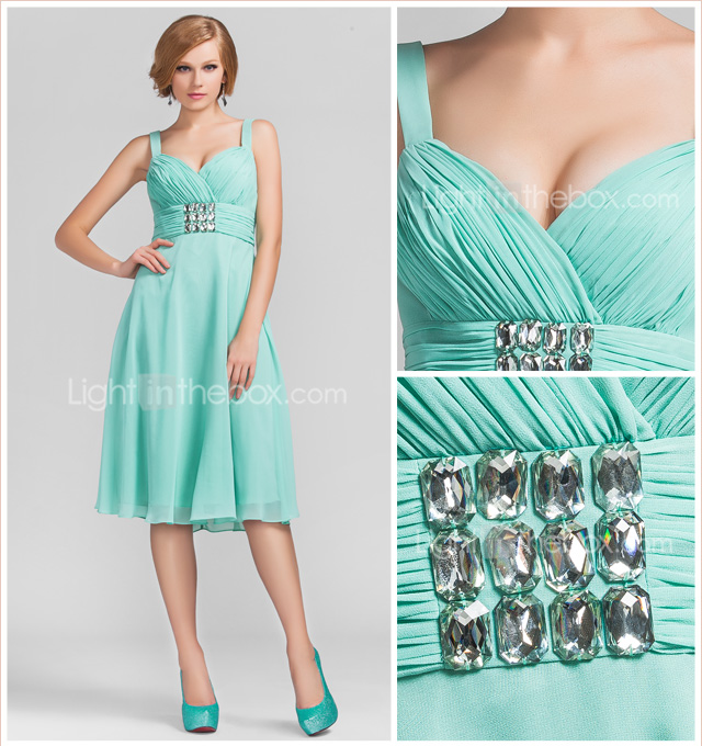 A-line Princess Sweetheart Knee-length Chiffon Evening Dress