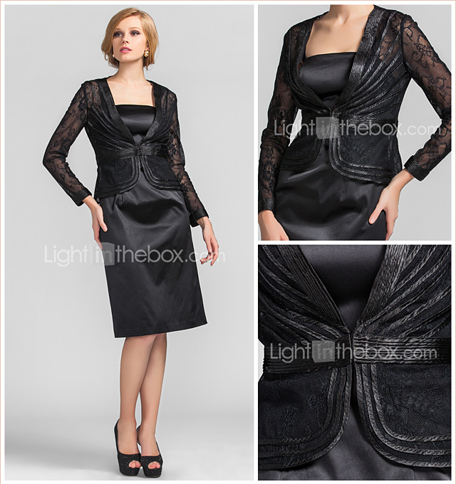 Sheath/Column Square Knee-length Lace|Stretch Satin Evening Dress With Wrap